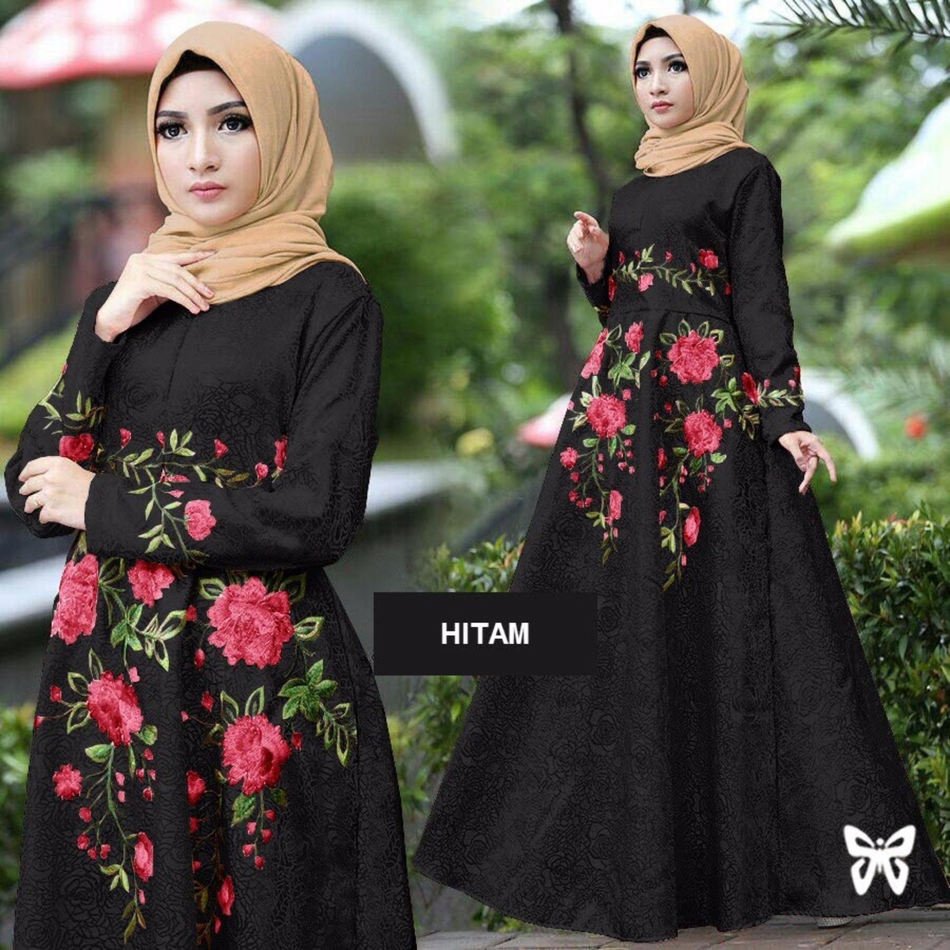 Sera Outfit Maxi Dress Lengan Panjang Bordir Bunga MSR001 / Gamis Syari / Gaun Pesta Muslimah / Baju Muslim Wanita Syar'i / Srayana