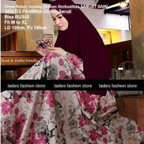 Dress Gamis BUSUI Releting Depan GRATIS KERUDUNG Baju Muslim Dress Katun Jepang Pakaian Gamis Syari