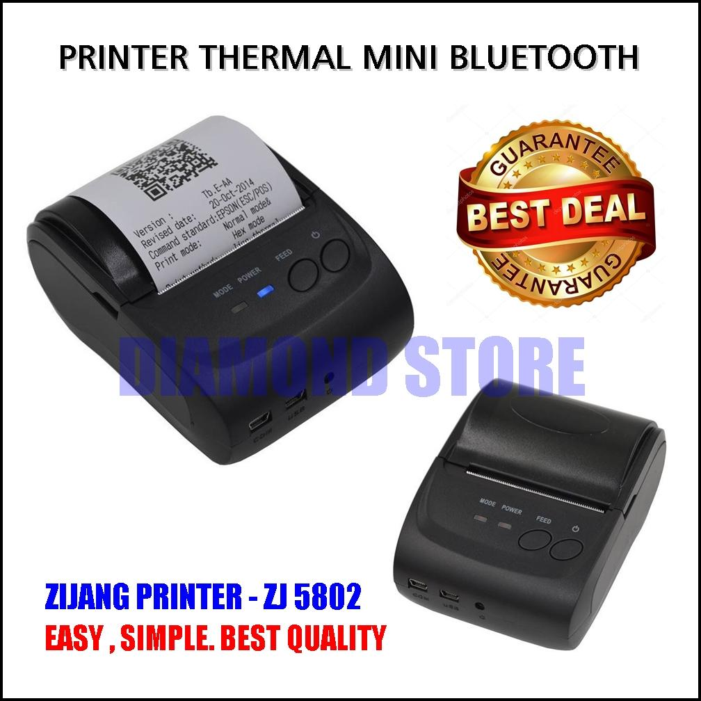 Diamond Store Printer Thermal Mini Bluetooth Zijang Printer ZJ-5802 Black / Printer Kasir / Printer Bluetooth / Printer Mini / Printer POS / Printer Murah / Printer Cafe