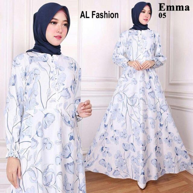 AB Agen Baju Official Shop - maxi EMMA gamis putih busana jumbo muslim HIJAB party dress murah (EMMA 29 HITAM MERAH)