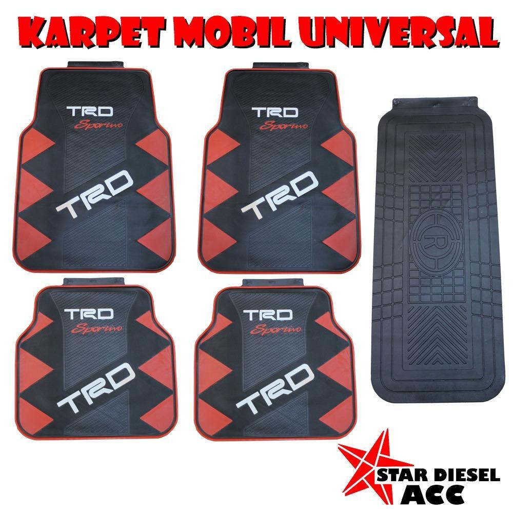 Karpet Mobil Lantai Universal 5PC TRD R1 HITAM MERAH