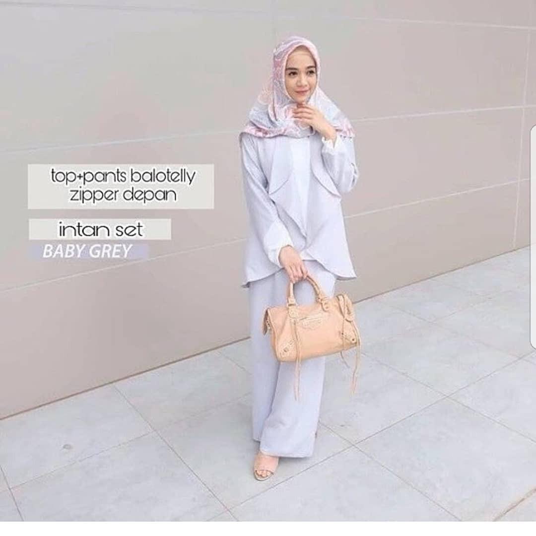 New Baju Original Intan Set Balotely Setelan Atasan + Celana Rok Overall Fashion Wanita Pakaian Muslim Cewek Hijab