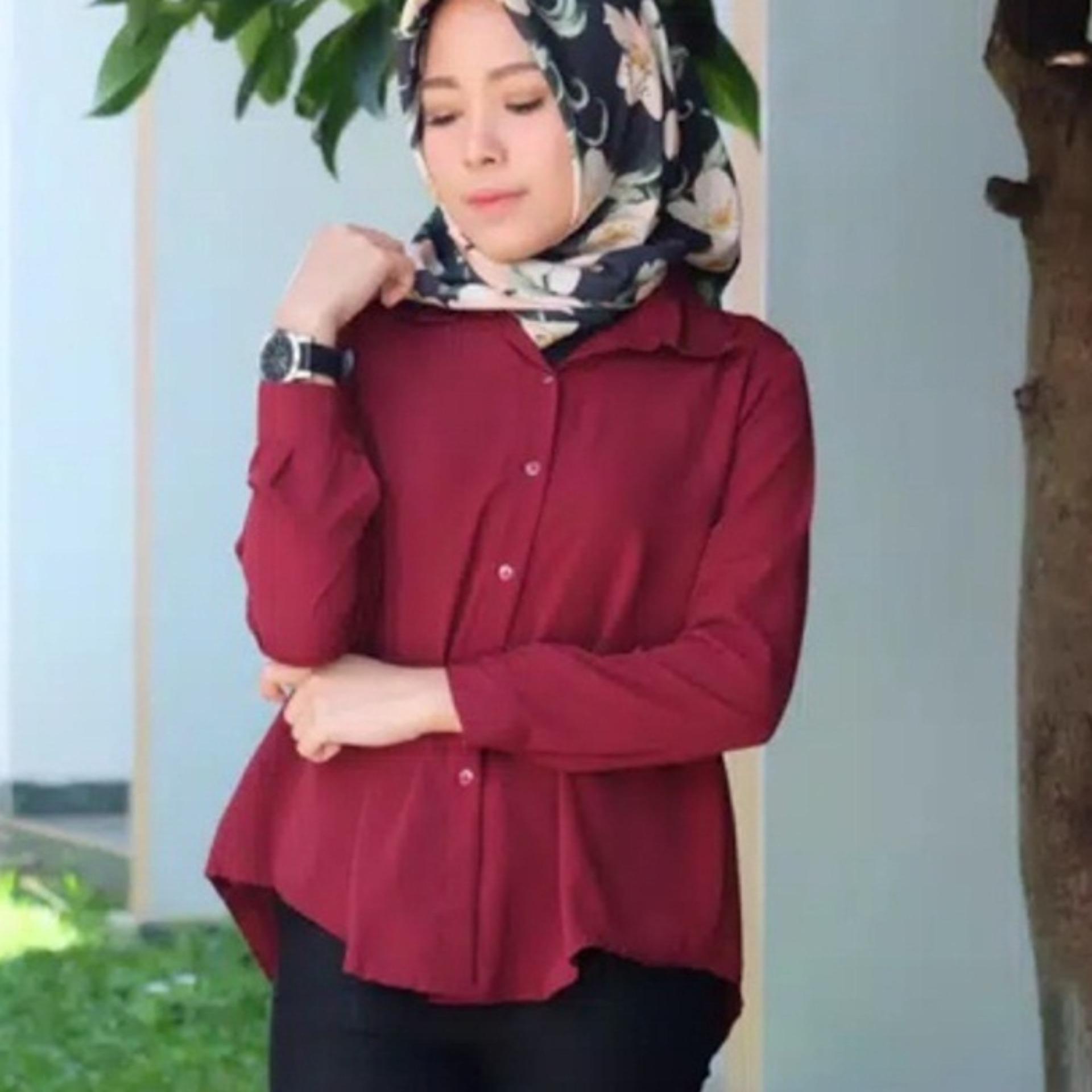 Claryne Blouse Wanita Muslimah Lengan Panjang Baju Atasan Baju Kerja Kemeja Dian