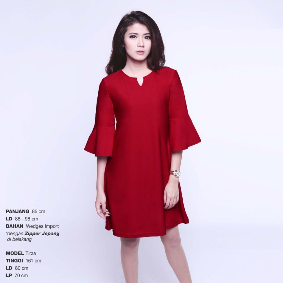 Ready Dress Wanita Murah Surabaya Tulip Key Dress Maroon Wedges Import