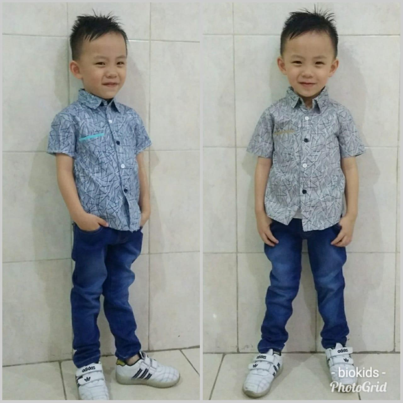 setelan kemeja plus celana jeans anak cowok - stelan korea anak 2 3 4 5 tahun