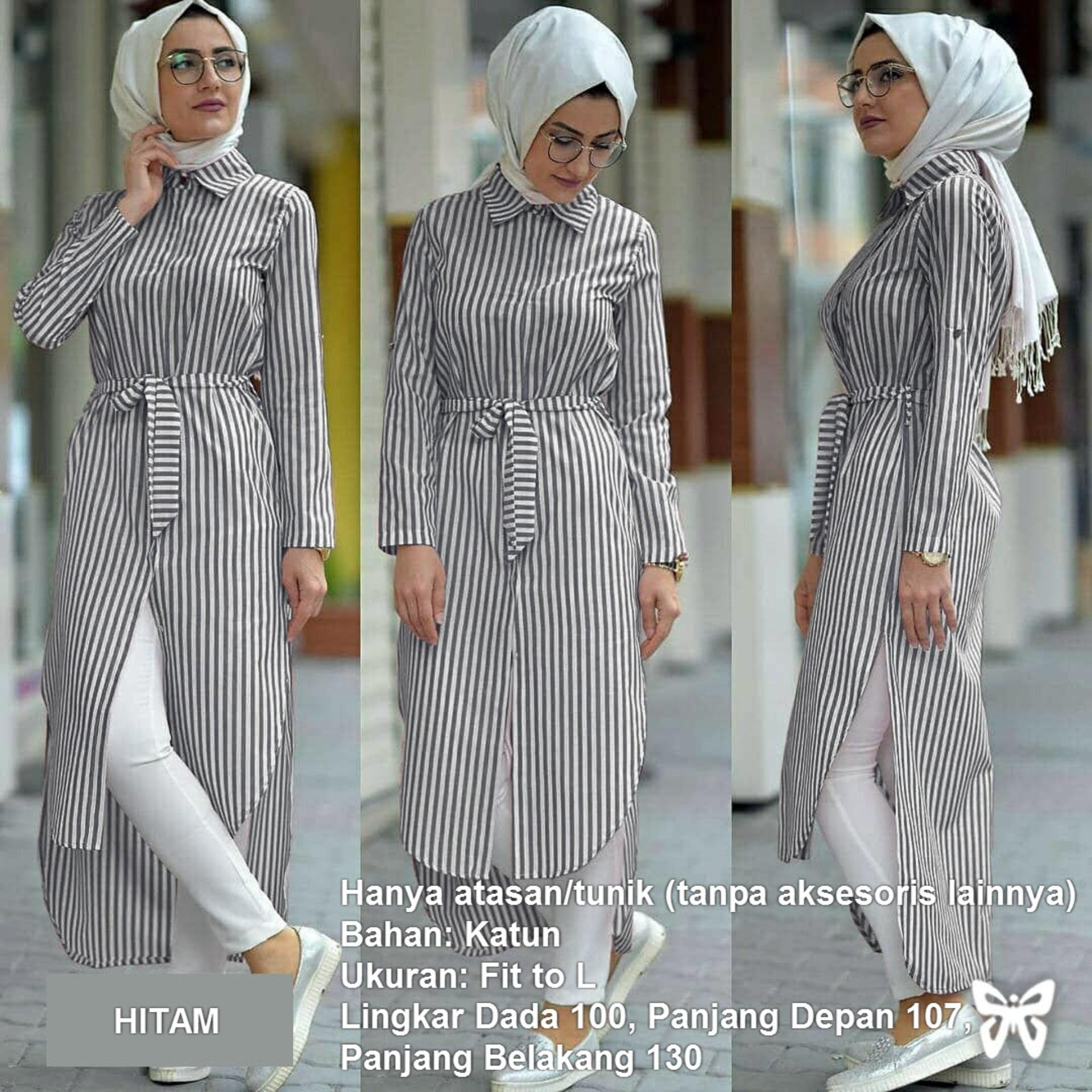 Kemeja Tunik Wanita Lengan Panjang Pinguin Busui Salur MSR276   Atasan  Muslimah   Baju Muslim   987001dc07