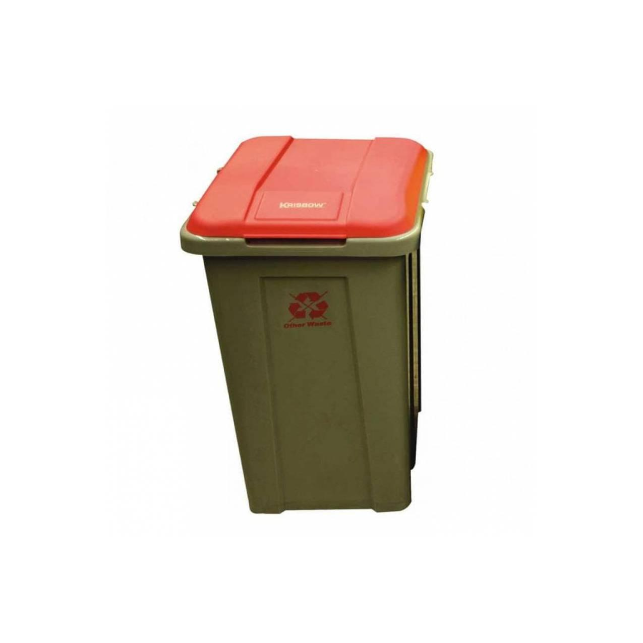 Jual Dust Bin Krisbow Grey 50L& Red Cover Kw1800702 Diskon