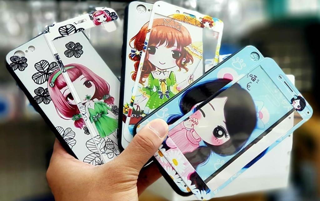 Case/Softcase Fauze Glass Korean Girls + Glass Glossy Case For OPPO A83 Bahan Fuze - Pm2902