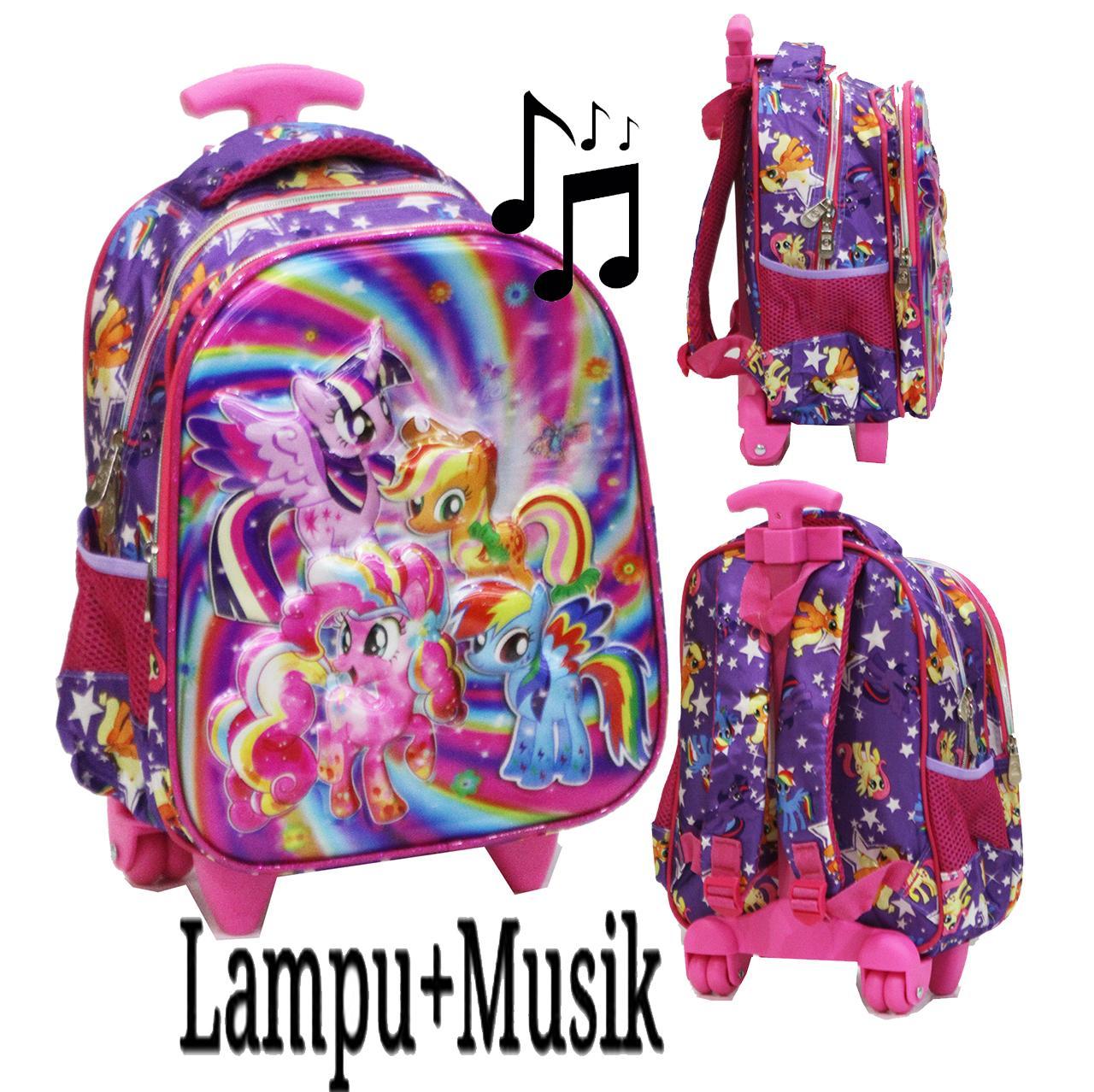 Onlan Tas LAMPU + MUSIC Trolley Anak Sekolah TK Karakter Little Pony Galaxsi 5D Timbul Hologram