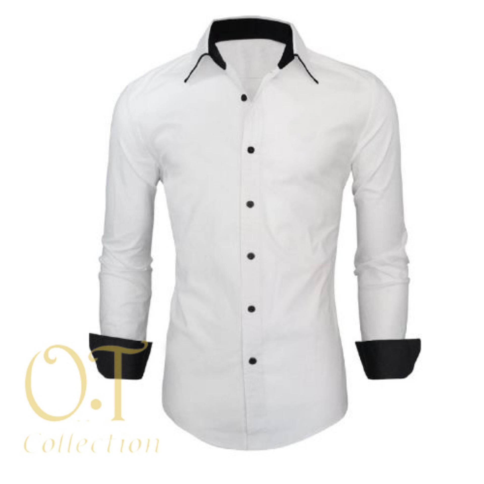 Promo [perry white OT] kemeja pria katun stretch putih