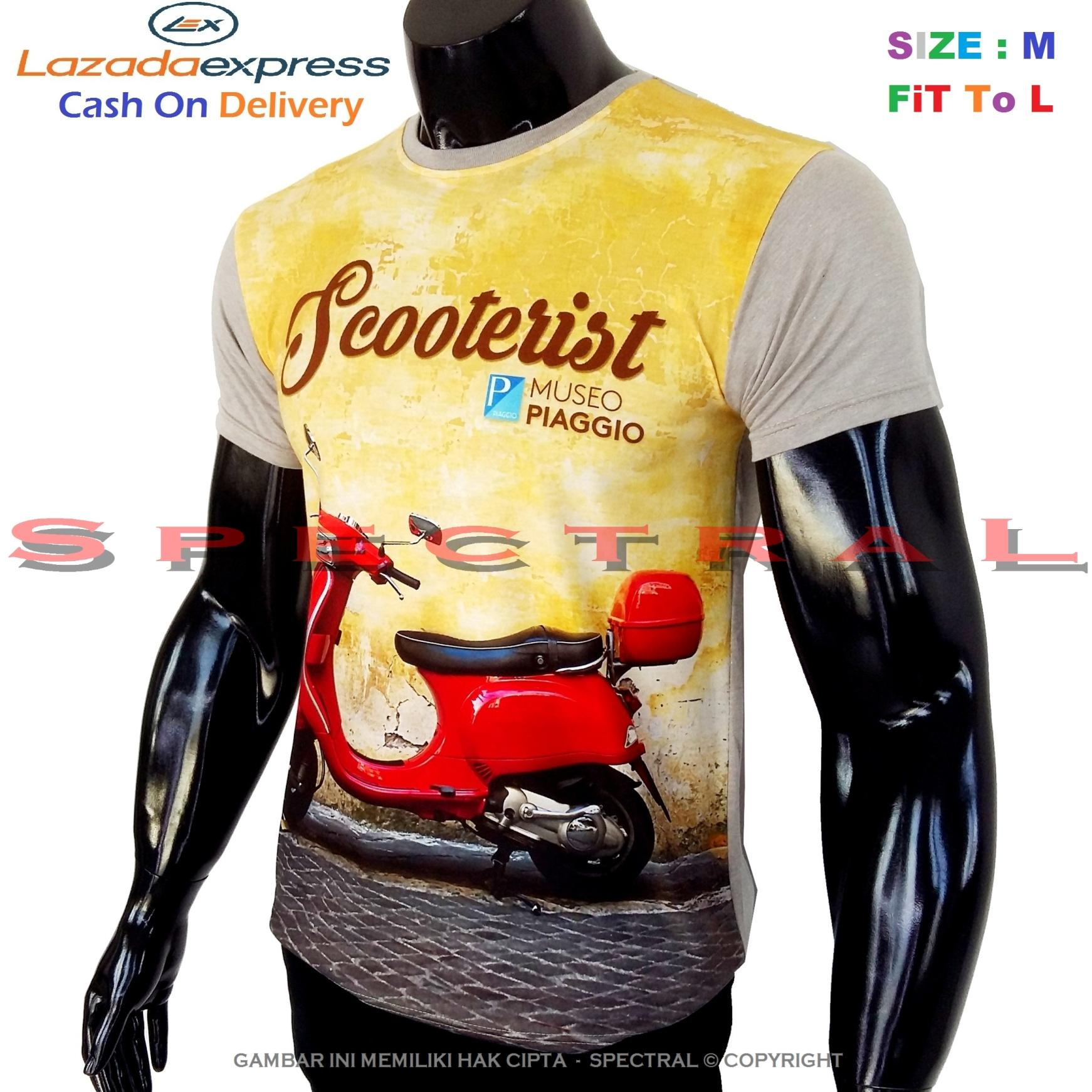 Spectral – 3D SCOOTER Kualitas HD Printing Size M Fit To L Soft Rayon Viscose Kaos Distro Fashion