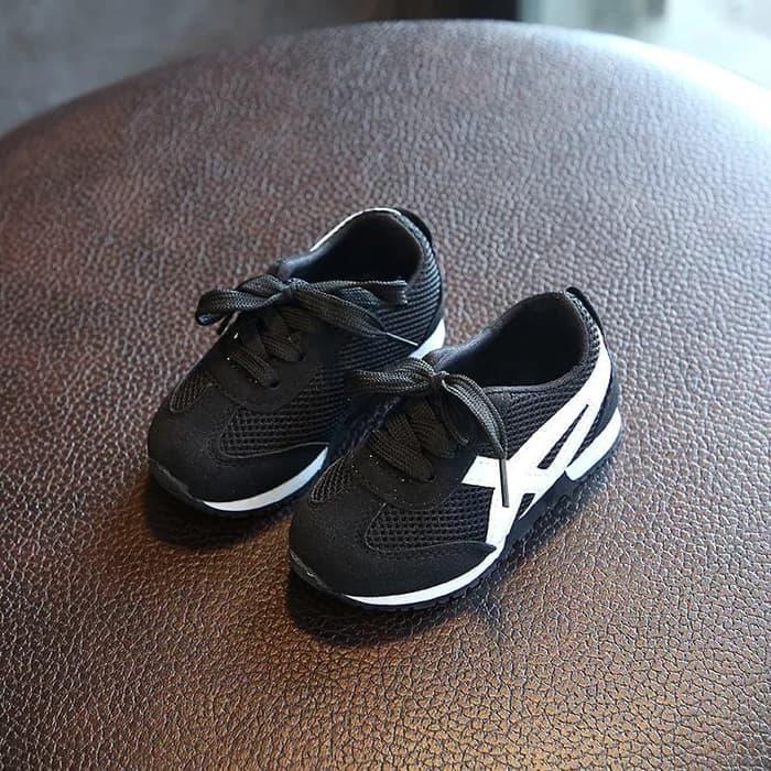 Sepatu Sport Sneakers Olahraga Anak Asics Sport Hitam / Sepatu Sekolah Anak Laki Laki TK SD