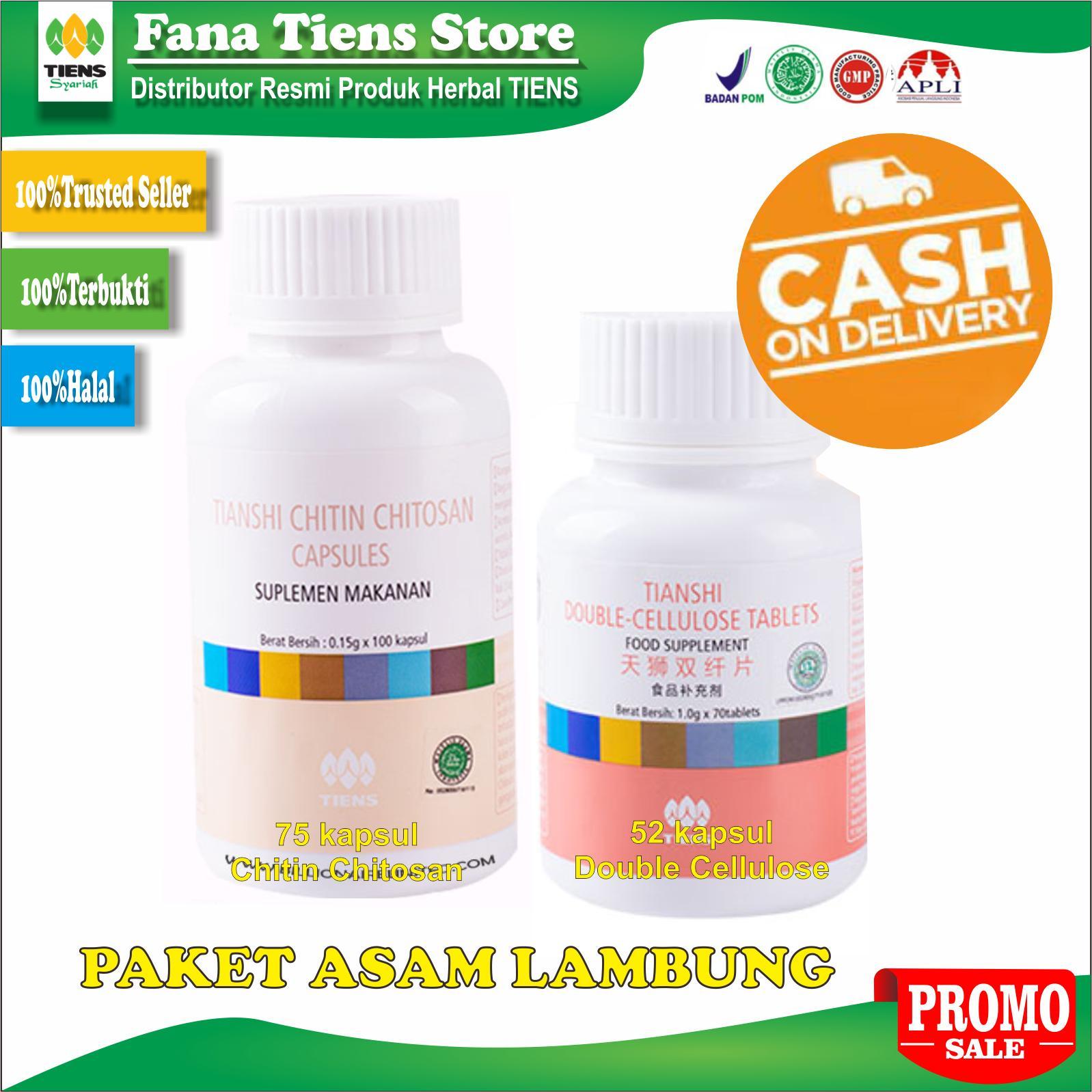 Tiens Herbal Paket Asam Lambung Naik Maag Kemasan 75 Chitin Chitosan 52 Double Cellulose Promo Seller Resmi By Fana Tiens Store