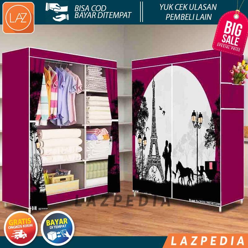 Laz COD - HOT LOVE 2018 Multifunction Wardrobe Lemari Pakaian Rak Baju / Ungu - Lazpedia A547