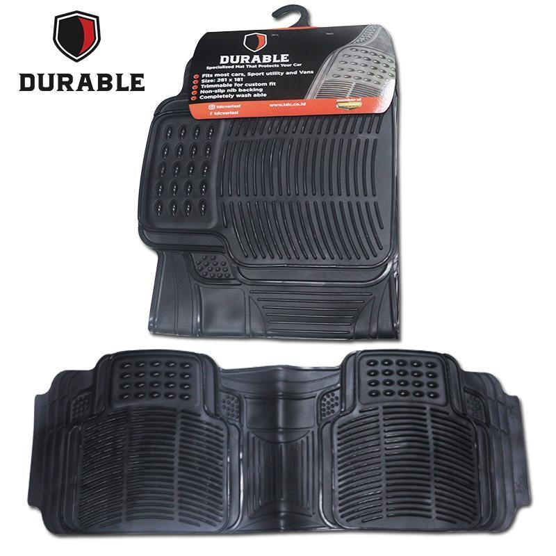 JEEP HUMMER H3 Karpet Mobil Karet PVC DURABLE 1Pcs Baris 3 Black