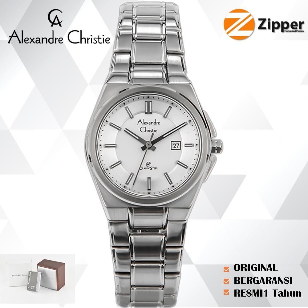Jam Tangan Alexandre Christie Wanita Ac 6410 Mc Steel Silver Black White Tali Logam Stainless 8506 Series