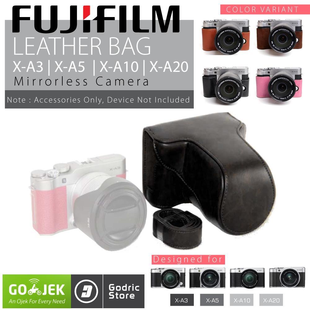 Fujifilm X-A3 / X-A5 / X-A10 / X-A20 / XA3 / XA5 / XA10 / XA20 Leather Bag / Case / Tas Kulit Kamera Mirrorless - Hitam