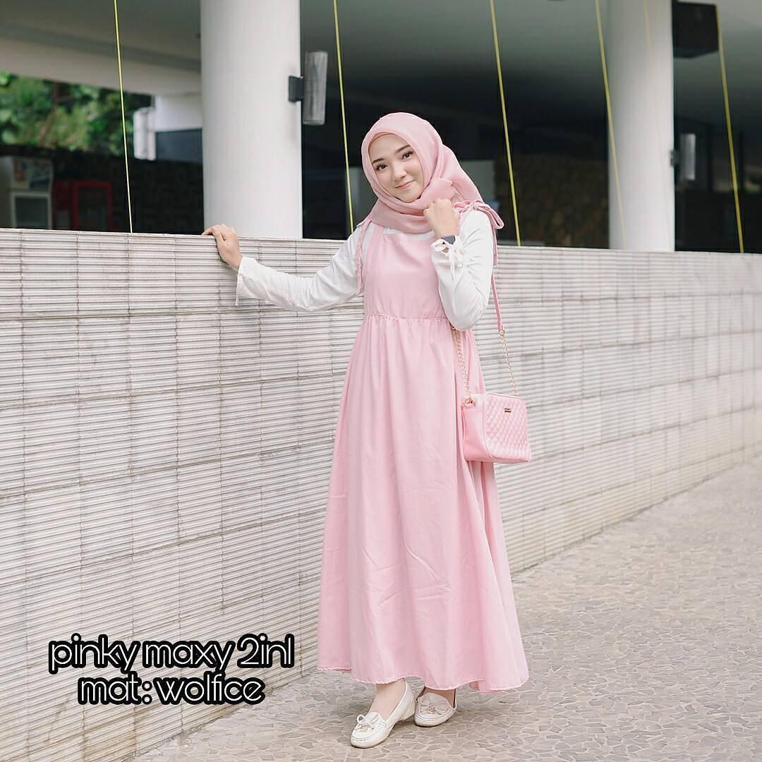 New Baju Original Pinky Maxy 2in1 Setelan Atasan + Celana Rok Overall Fashion Wanita Pakaian Muslim Cewek Hijab