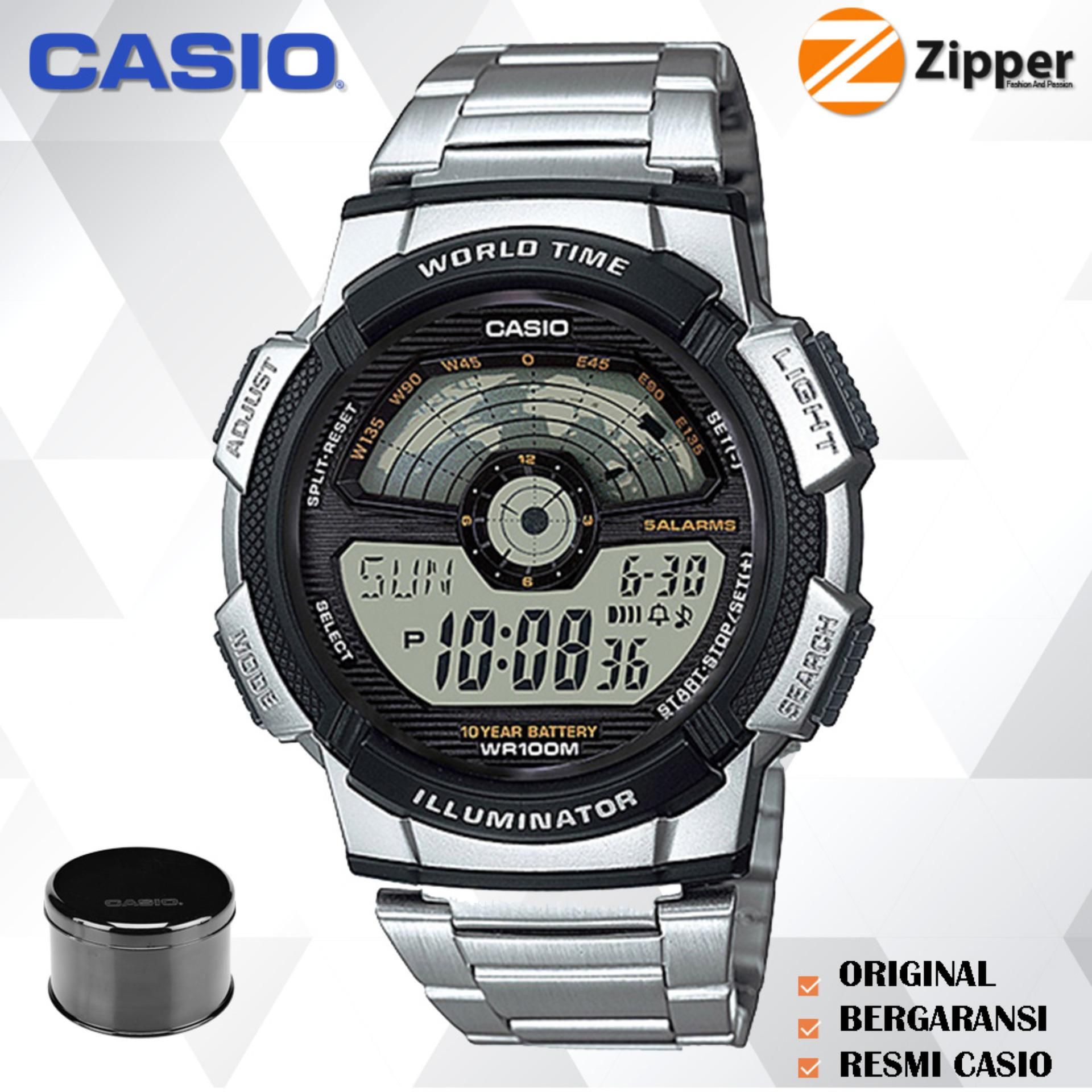 Casio Illuminator Jam Tangan Digital AE-1100WD-1AVDF Youth Series - Tali Stainless Steel