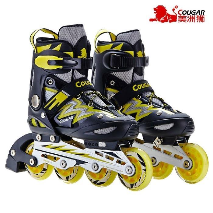 Sepatu Roda COUGAR Inline Skate MZS835L Balck Yellow New