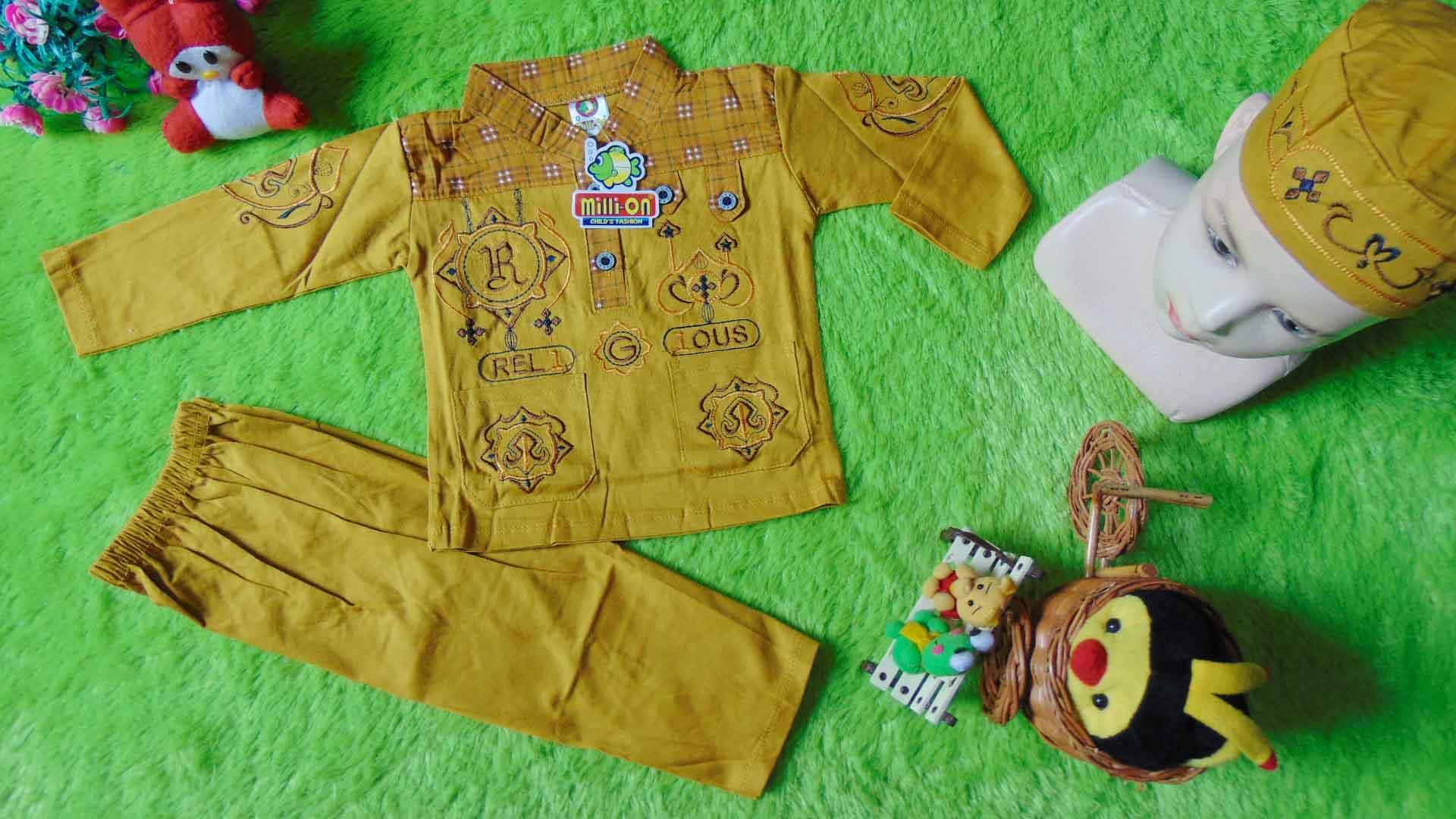 kembarshop - PLUS PECI setelan baju koko muslim anak bayi laki-laki newborn 0-12bulan kuning kunyit bordir kancing dada
