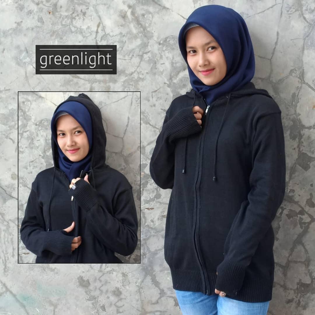 Greenlight - Jaket Sweater Hoodie Rajut Wanita Terbaru - Black