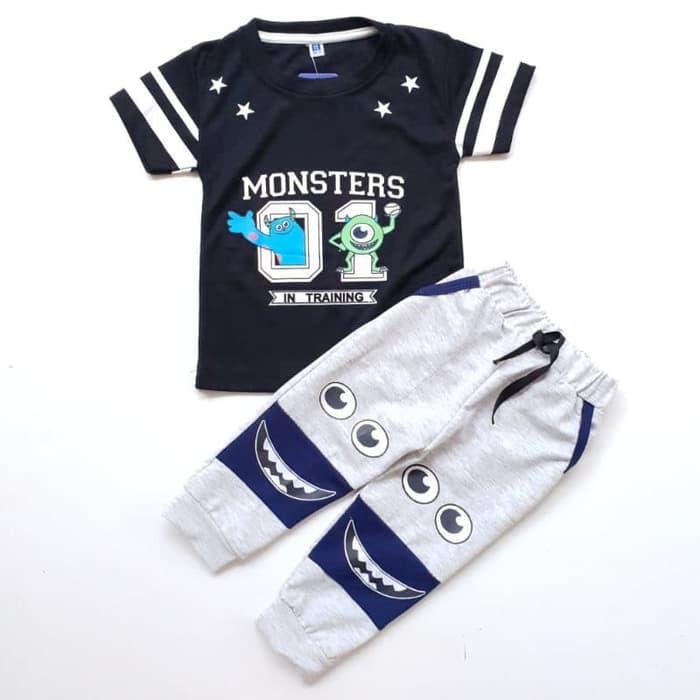Baju Setelan Anak Bayi Laki Cowok Kaos Monster Inc Celana Joger