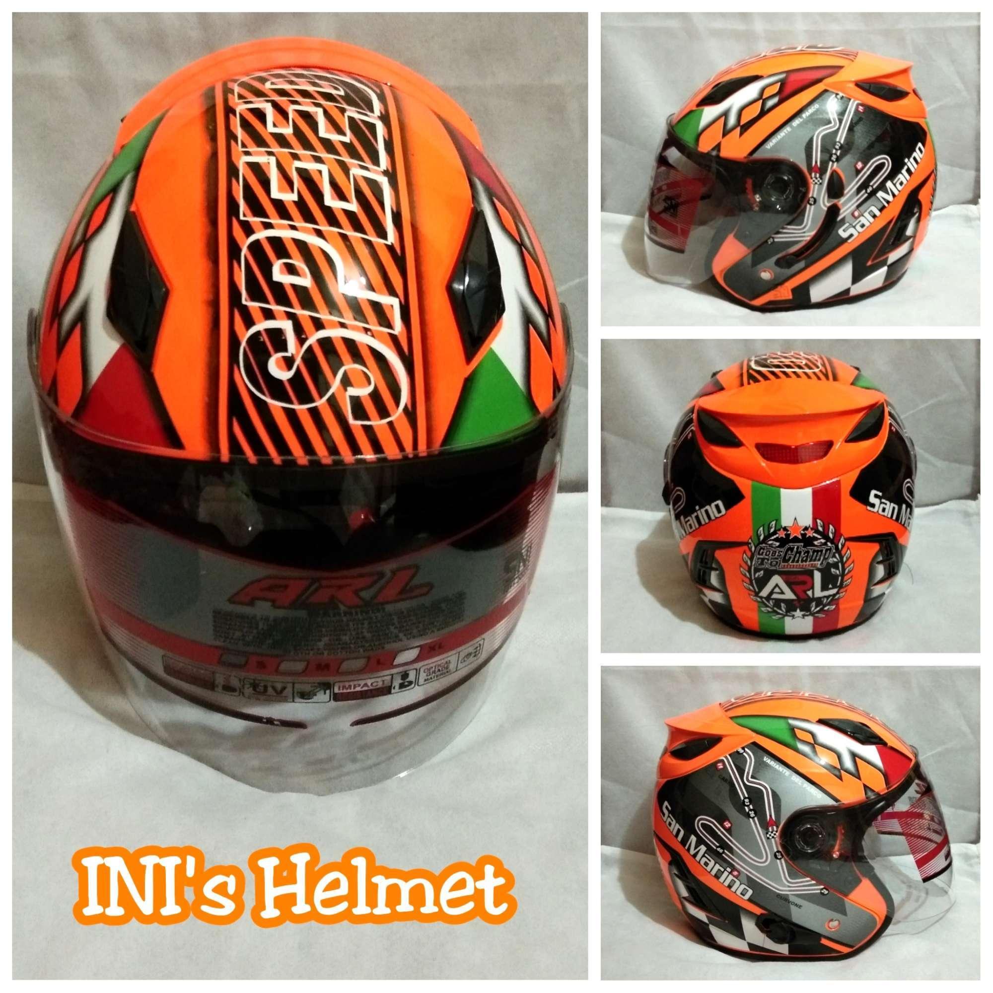 Helm ARL Centro Double Visor 2 Kaca Motif Orange San Marino - SNI - INIs Mart Jakarta