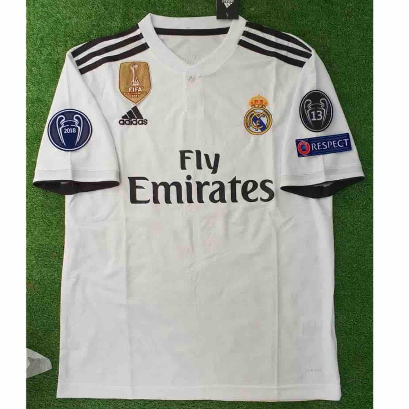 JERSEY BOLA REAL MADRID HOME 2018/2019 FULL PATCH UCL - BAJU BOLA - KAOS