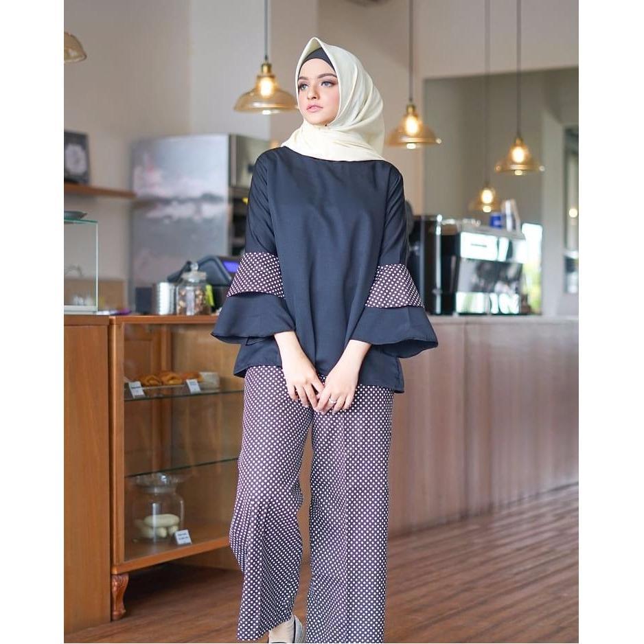 Baju Original Setelan Dotty Set Baju Wanita Hijab Trendy Celana + Baju Atasan Modern Modis Casual Trendy Terbaru 2018 Warna Black