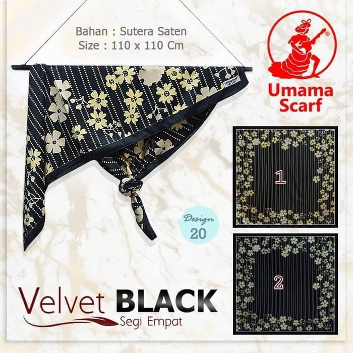 Jilbab Segi Empat Satin Velvet Black / Hijab satin hitam terkini