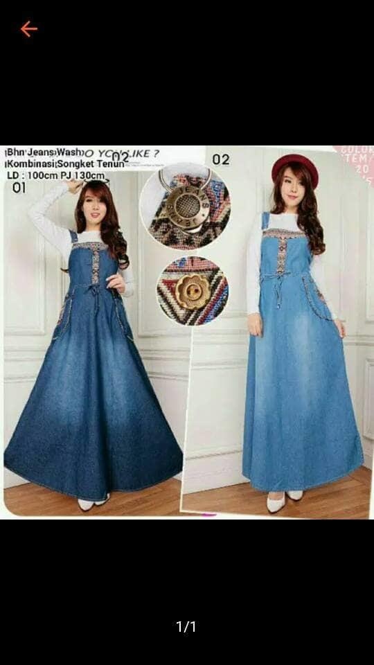 BAJU HAMIL SONGKET JEANS OVERALL JUMPSUIT DRESS