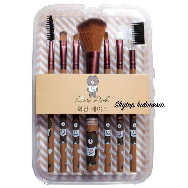 Skytop Kuas Make Up Wajah Brush Kosmetik 7 in 1 Motif Brown Line Conny Rabbit London