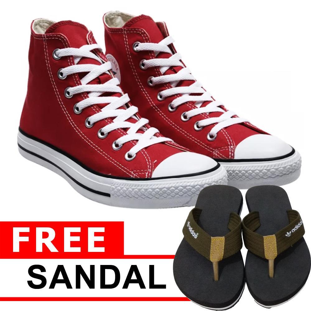 Just Cloth Sepatu Wanita Sneakers Casual All Star Sepatu Pria Unisex Model  Tinggi + Gratis Sendal 86acb1c413