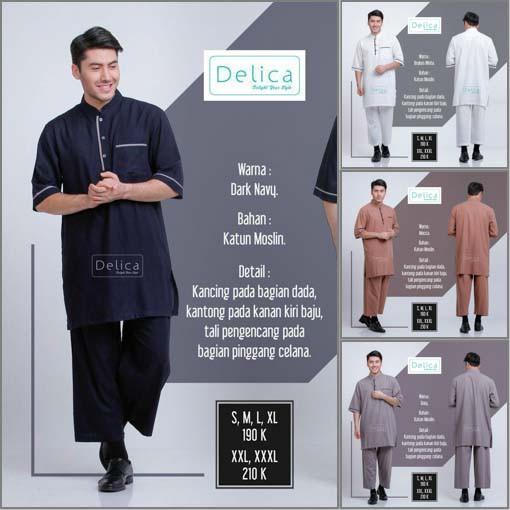 Gamis Pria Kurta Pakistan Setelan dengan Celana DELICA (Ukuran XL)