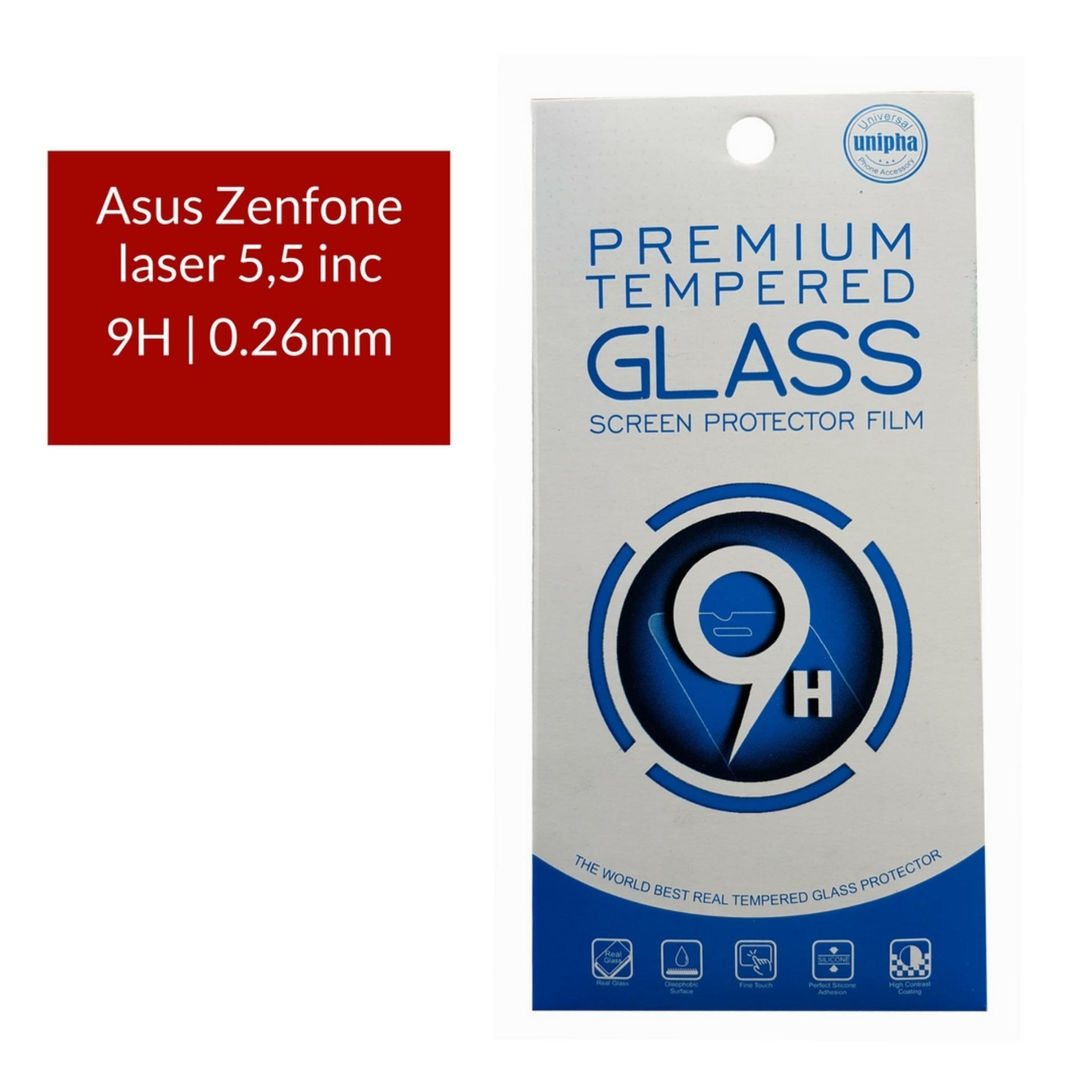 Unipha Premium Tempered Glass Screen Protector / Anti Gores Kaca Asus Zenfone laser 5,5 inc - Bening