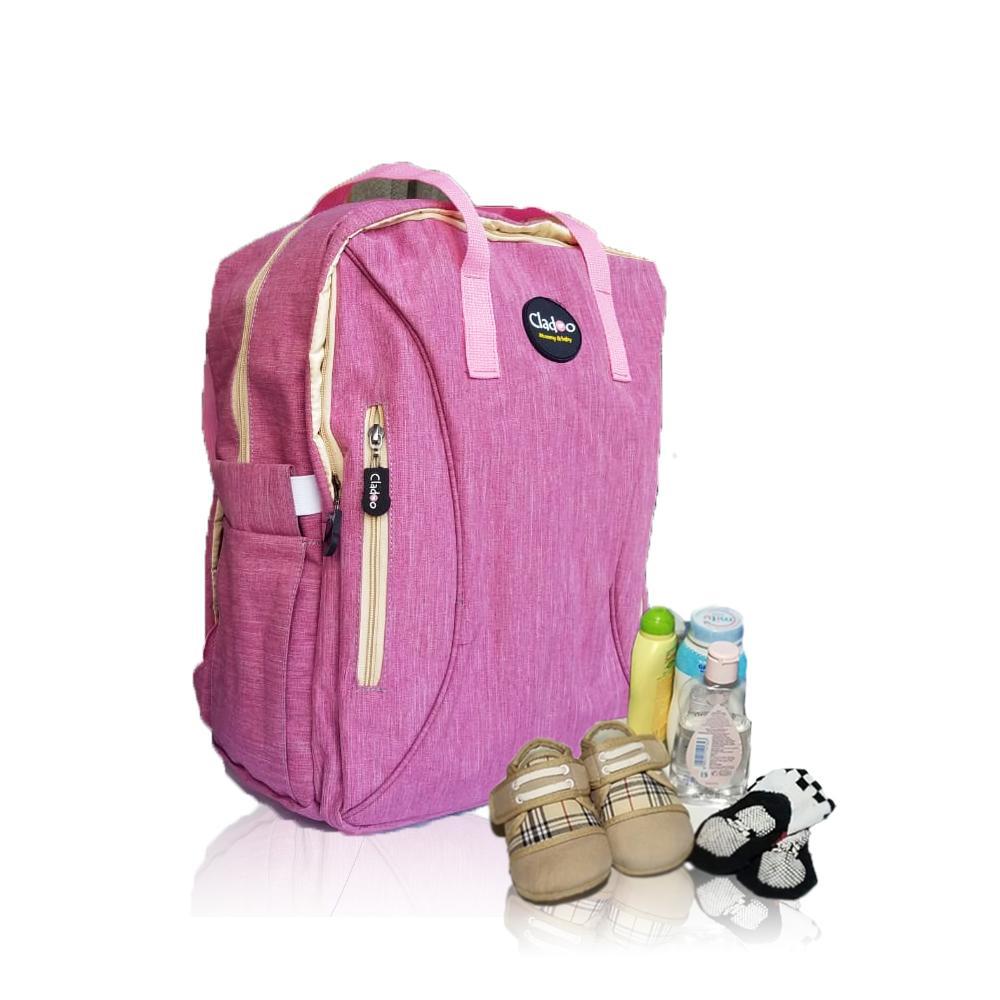 Tas bayi besar ransel merk cladoo warna pink