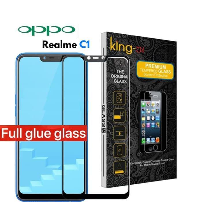 For 5D Oppo Realme C1 2018  King Zu Anti Gores Kaca NEW 2018  2018 Full Body Glue Tempered Glass For Oppo RealmeC1 Screen Protector 9H Full Cover Glass (Hitam)