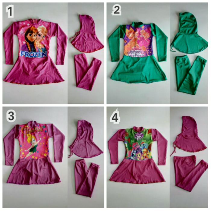 ORIGINAL!!! Baju Renang Muslimah Anak 2-4 Tahun Karakter Cantik - eGoVwF