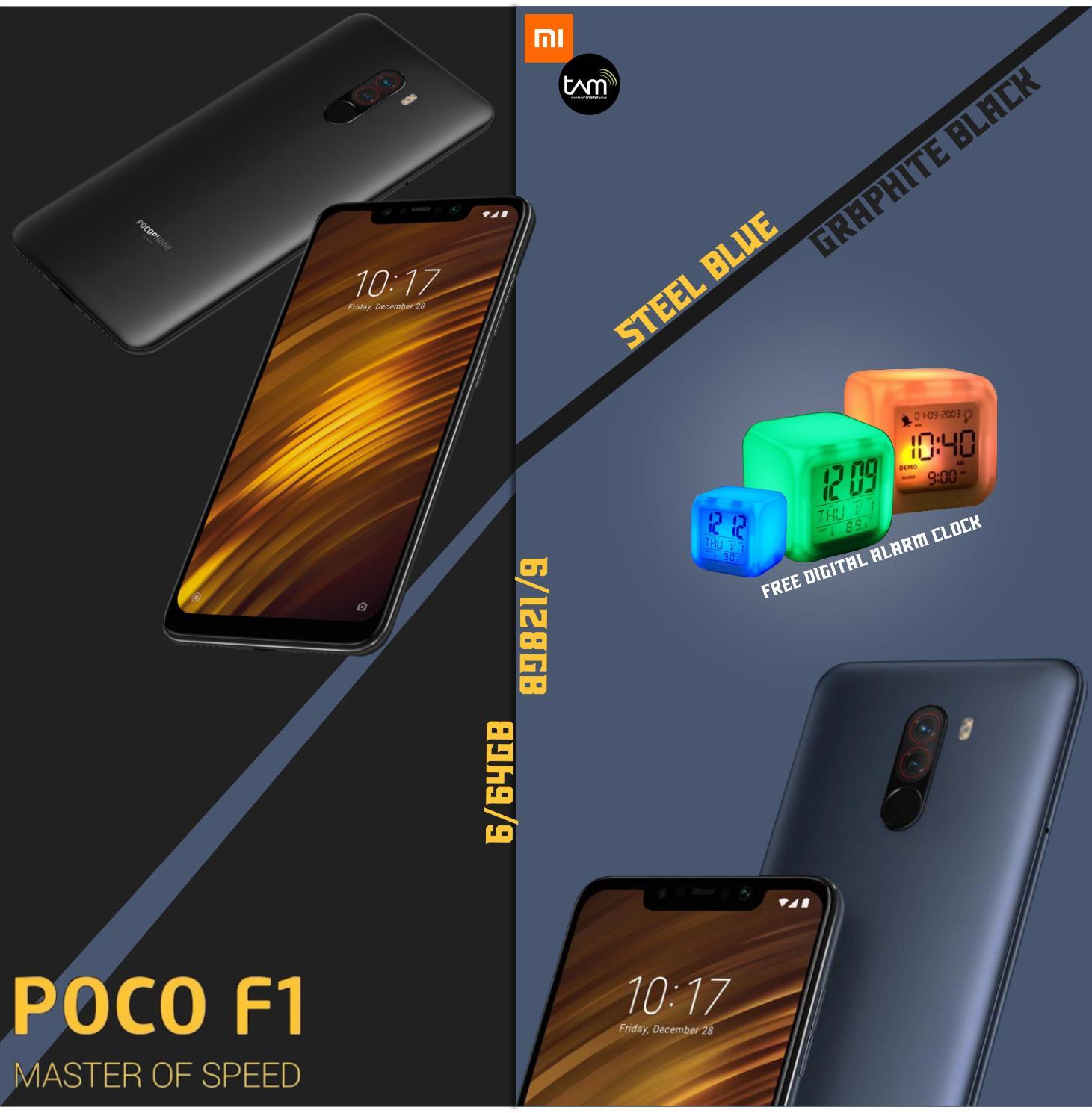 Xiaomi Pocophone F1 6/64GB Graphite Black Snapdragon 845 Garansi Resmi TAM free LED digital alarm clock