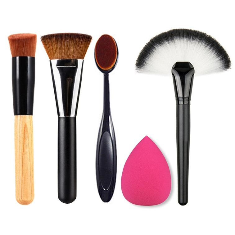 Marlow Jean Set Perlengkapan Makeup Travel 5 in 1 Makeup Set Brush Makeup Brush Foundation Contour Brush Base Brush Oblique Brush Sponge Puff