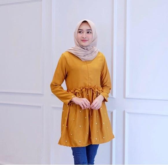 Baju Muslim Original Yanina Top Baju Wanita Atasan Baju Muslim Simple Modis Pakaian Kerja Casual Mo