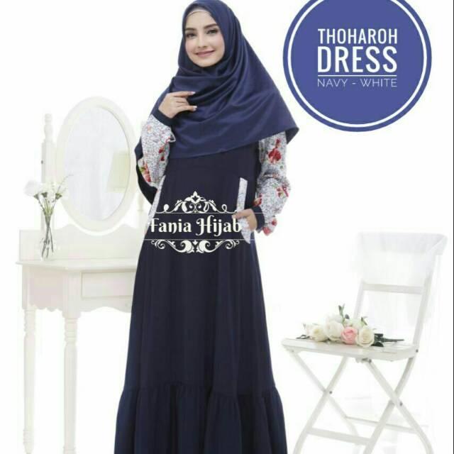 (TERBARU) Gamis busui mosecrep kombinasi katun vercase adem fania hijab (navy s-xl)