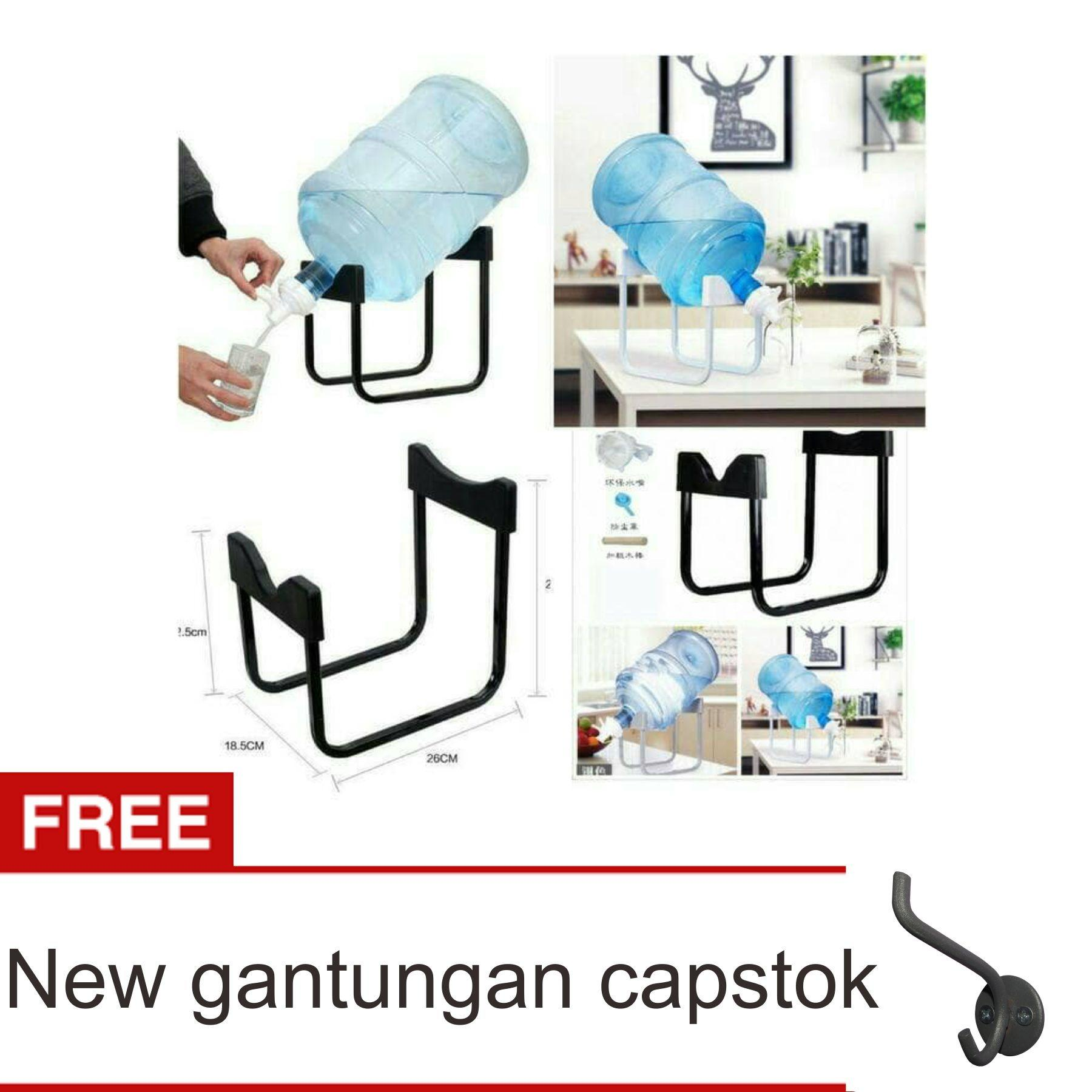 Lanjarjaya Rak Galon Tatakan Galon + Kran Air Galon / Dispenser Air Galon / Dispenser Minuman / Tatakan Aqua / Rak Besi Warna Random + New Gantungan Capstok