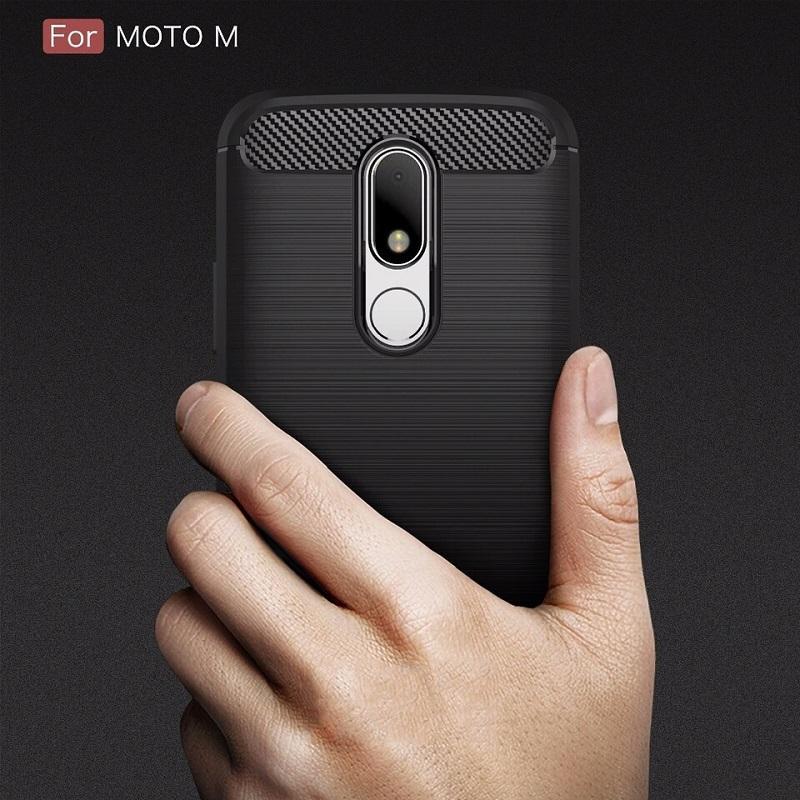 Motorola Moto M Armor Rugged Slim TPU Soft Case Carbon Design