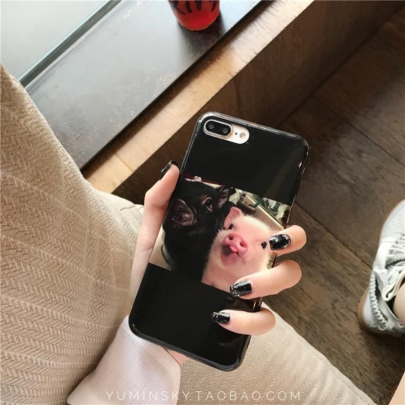 Beberapa Casing HP Imut Set Hitam Iphone7/8 PLUS Aneh tapi Lucu Silikon Lunak