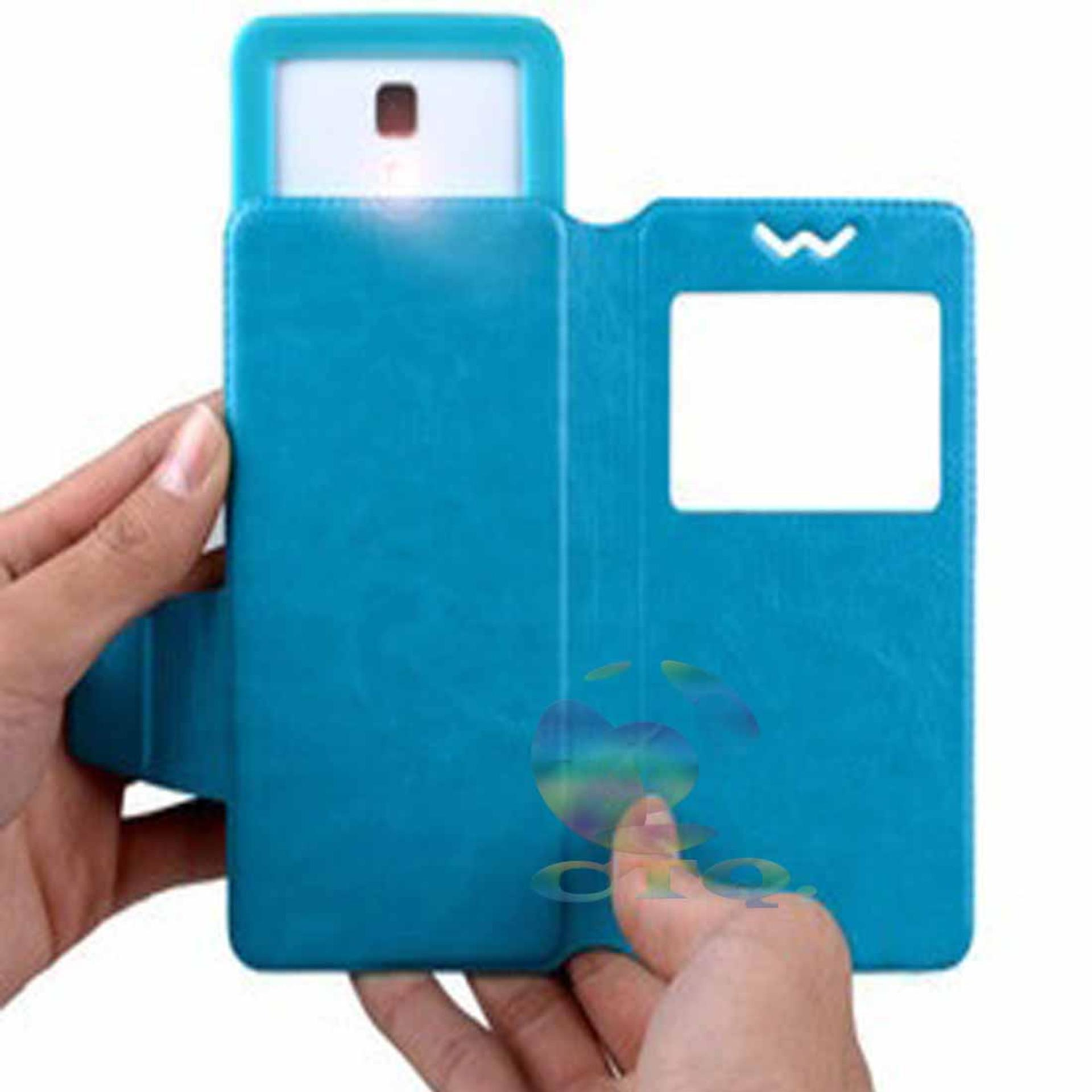 Leather Windows View Case For Evercoss Elevate Y2 Power Smartphone Slide Up Universal Flipshell