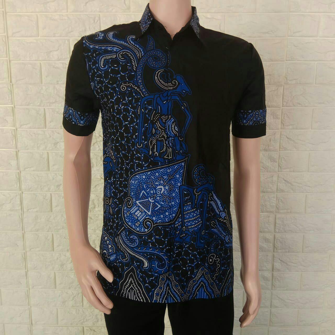 Baju Batik Pria Lengan Pendek Modern/ Kombinasi / Murah / Keren / Terbaru / Kemeja