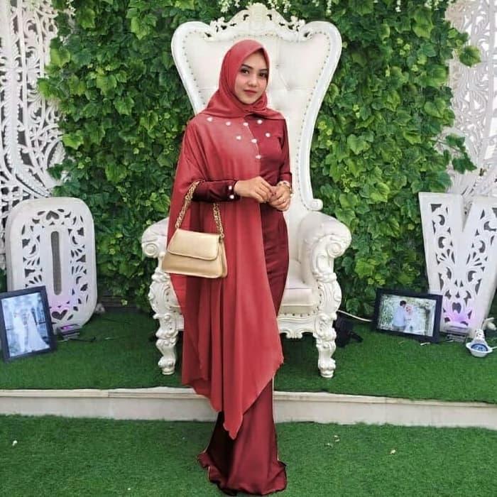 Dress Wanita Muslim Hijab Maxi Princess - Maroon