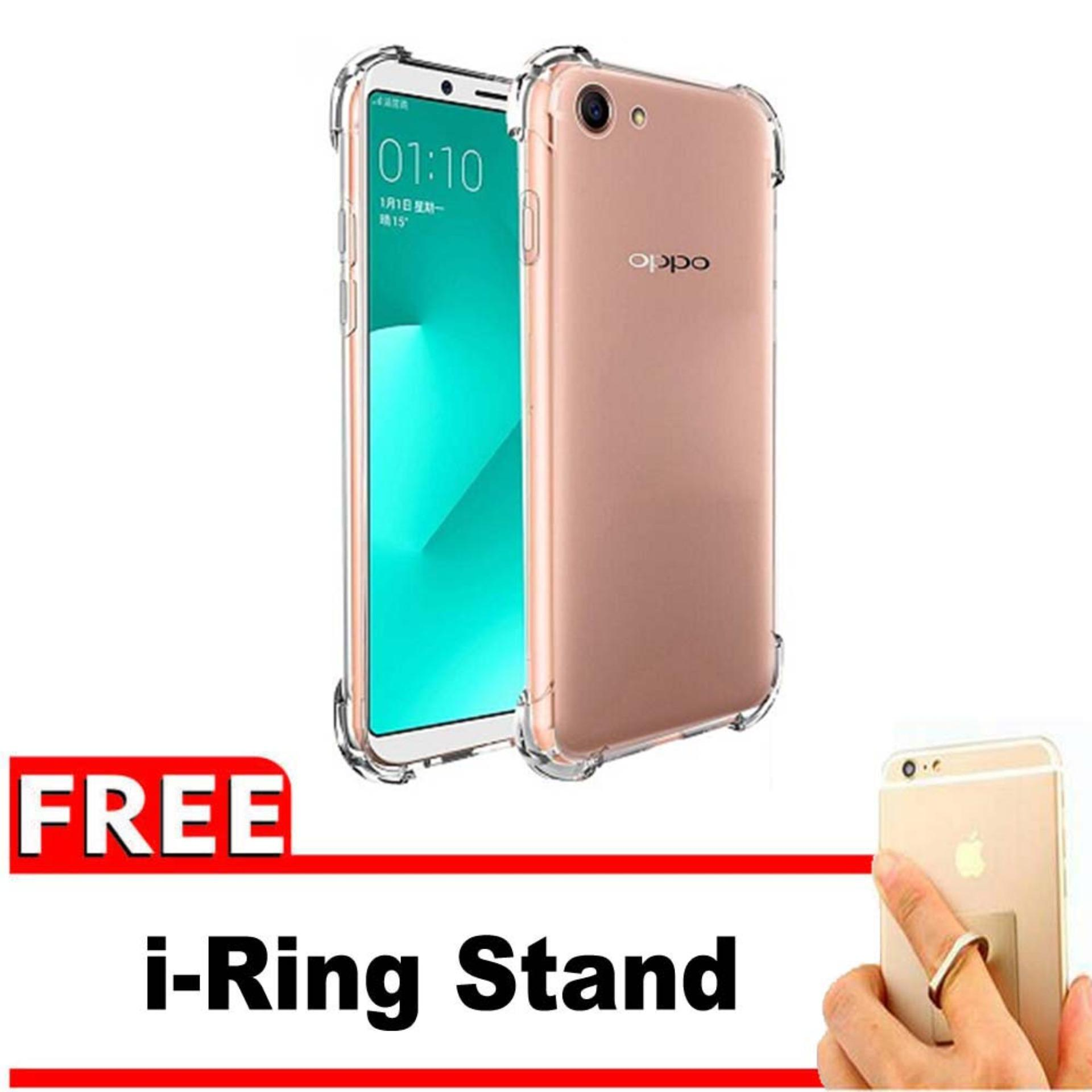 ShockCase for Oppo A83 | Premium Softcase Jelly Anti Crack Shockproof + Gratis Free iRing Stand Phone Holder - Transparan